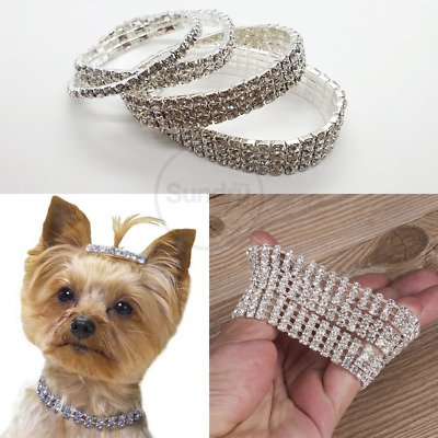 Rhinestone Crystal Choker Small Dog Breed Pet Collar Puppy Necklace Bling UK