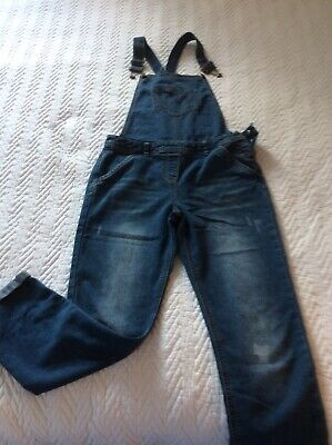 Girls Blue Denim Dungarees Age 11-12 Years
