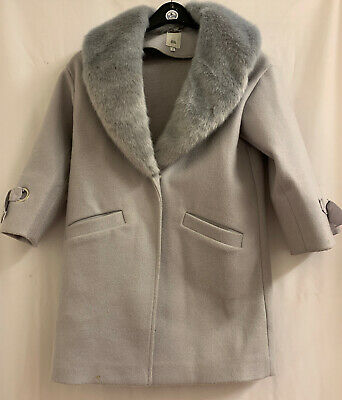 River Island Girls Grey Winter Fur Coat Age 7 Yrs