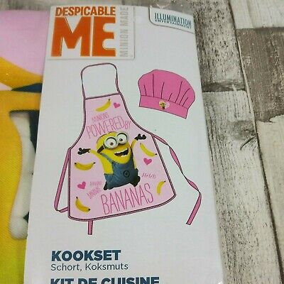 Childrens MINIONS Girls Cooking and Baking Apron and Hat Set