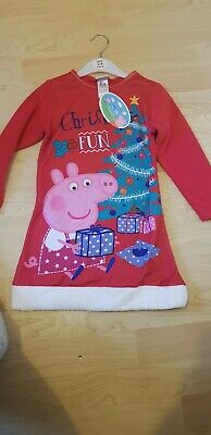 baby girls Christmas peppa pig nightie nightwear pyjamas sleep set 3-4 years xma