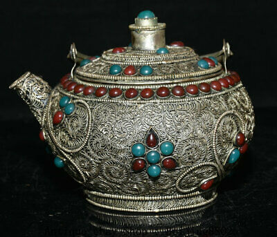 """5.6"""" Old Tibet Silver Filigree Gems Buddhism Portable Holy Water Teapot"""