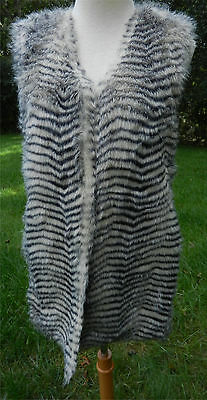 BETSEY JOHNSON S Gray White Striped Animal Print Vest Fuzzy Faux Fur Fully Lined