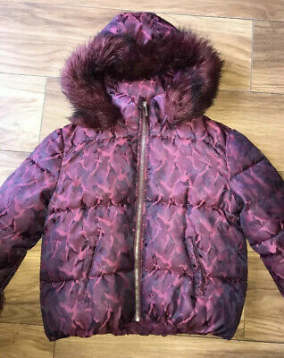 Girls Age 9-10 River Island Quilted Jacket Coat Faux Fur Hood