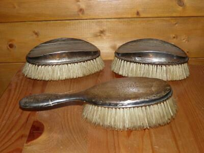 Antique Hallmarked 1905 Silver Set Of 3 Dressing Table Hair Brushes
