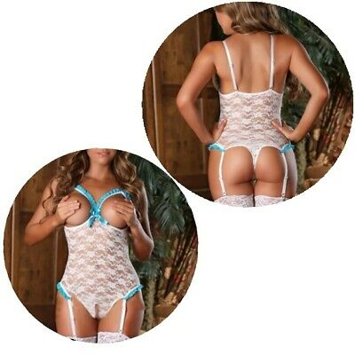 Ladies Lingerie Crotchless Sexy Lace Bra Thong Nightwear Open Dress White