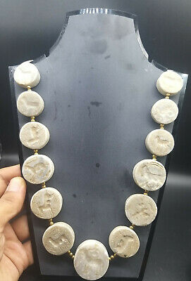 Very Old Perfect Alabaster Stone Round Diffrenet Intaglios Antique Neckless