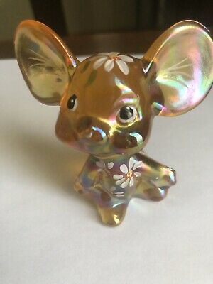 Fenton Art Glass Iridescent Mouse Gold Colored ,Hand painted Flowers Signed