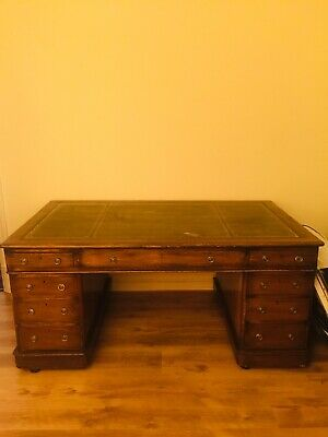 Partners Desk. Oak With Leather Top, Gilded Edge