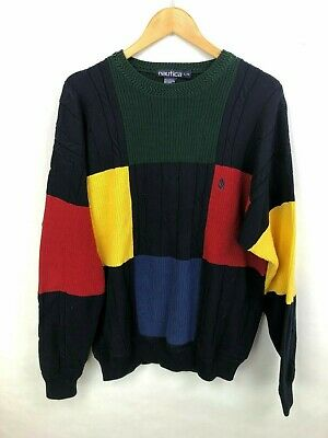Vintage Nautica 90's Color Block Sweater Crew Neck  Mens Large Pull Over