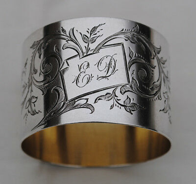 Antique French Sterling Silver Napkin Ring Rococo & Floral Engraved Details