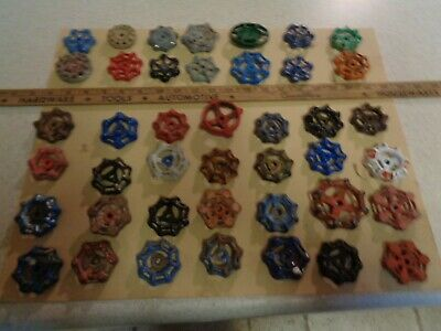 Lot of 42 VINTAGE WATER FAUCET KNOB VALVES HANDLE STEAMPUNK INDUSTRIAL ART CRAFT