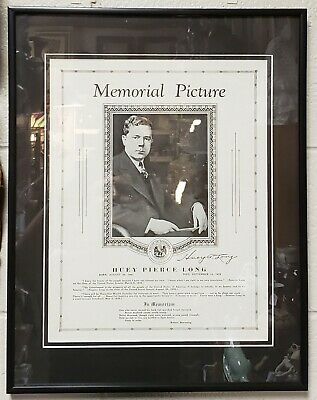 1935 Louisiana Governor Huey P. Long Funeral Framed Memorial Picture