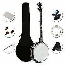 5 String Geared Tunable Banjo 24 Brackets Tune Instrument Vintage Girl Boy Play