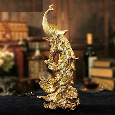 Resin Phoenix Figurine Pure Golden Bird Of Wonder Statue Animal Sculpture Decor