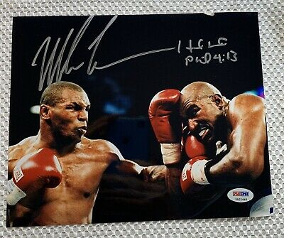 Mike Tyson & Evander Holyfield Dual Signed Glossy 8x10 Photo PSA DNA COA