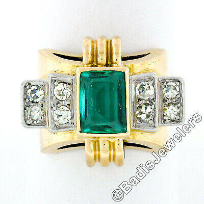 Antique 18k Gold Platinum GIA & AGL No Oil Colombian Emerald & Diamond Band Ring