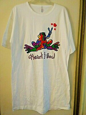 """Peace Frogs"" Night Shirt ""Heart & Soul""  3 Red Hearts Floating on Left Side!!"