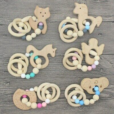 Animal Wooden Teether Baby Chewable Teething Bracelet Silicone Rattle Toys Nice