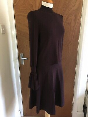 H&M Purple Fine Knit Co-Ord JUMPER With Flare Sleeves Flare ALine SKIRT Set S/XS