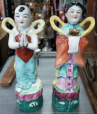 Pair of Ca. 1900 Chinese Famille Rose Porcelain Boy & Girl Prosperity Figurines