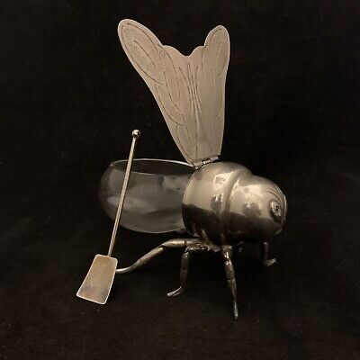 Vintage Italy Silverplate Bee With Spoon And Glass Mid Century