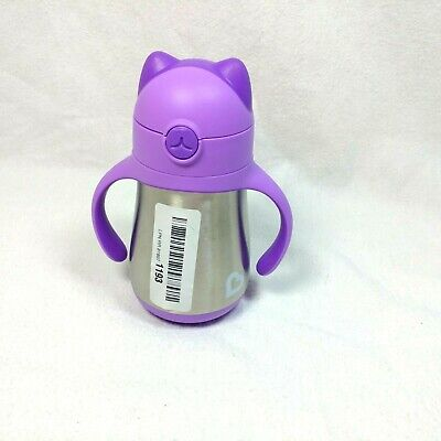 Munchkin Cool Cat Stainless Steel Straw Cup, 8 Ounce, Purple