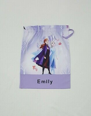 Free Name Frozen Anna Elsa Winter  Personalised Library Bag Fd20 Kinder