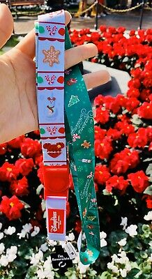 Disney Parks Christmas Holiday Mickey Treat Foods Greetings Reversible Lanyard