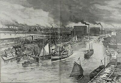Illinois Chicago River View frm Lighthouse Huge Double-Folio 1880s Antique Print
