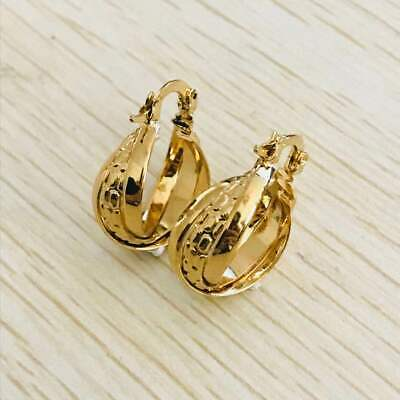 Fashion women yellow gold plated 3-row round hoop earrings jewelry