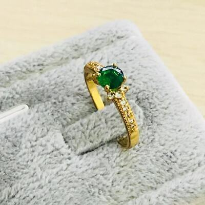 Fashion yellow gold filled  Green crystal wedding engagment women Rings szie  7