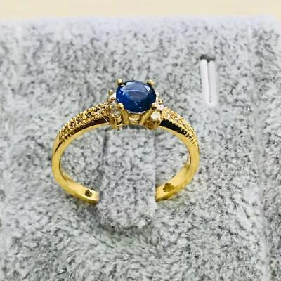 Fashion yellow gold filled  Blue crystal wedding engagment women Rings szie  9