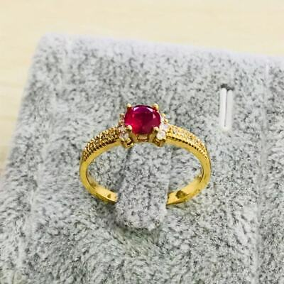 Fashion yellow gold filled  red crystal wedding engagment women Rings szie 6