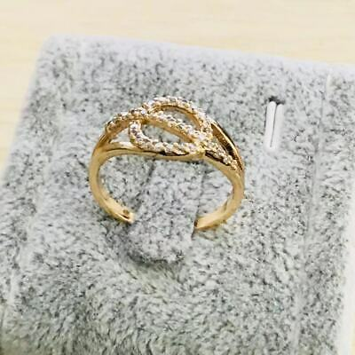 Fashion yellow gold filled  crystal wedding engagment women Rings szie  7.5