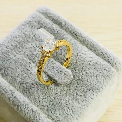 Fashion yellow gold filled  white crystal wedding engagment women Rings szie  7