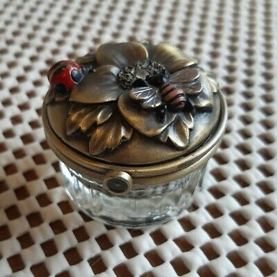 Trinket Box with Enamel Ladybug Bee and Floral Motif Pressed Glass Base