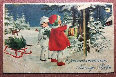 Old CHRISTMAS postcard 1920s Magic winter forest. Fashion Girl. Antique lantern
