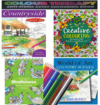 COLOUR THERAPY MIND RELAXING ADULT Stress Relief COLOURING BOOK BOOKS PENCILS
