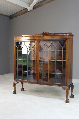 Antique Mahogany Glazed Bookcase Early 20th Century Bow Front Cabinet