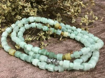 Certified Chinese-exquisite-hand-carved-Cylindrical-jadeite-necklace-21-inches