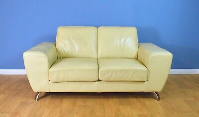 Mid Century Retro Italian Cream Leather 2 Seat Sofa Settee Couch by Moroso 1980s