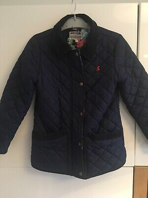 Joules Girls Quilted Coat Jacket Age 7 - 8 Years French Navy Blue Popper & Zip