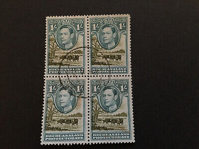 GVI Block of 4 used one shilling Bechuanaland Protectorate stamps