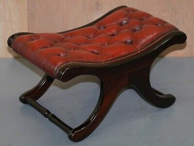 Lovely Chesterfield Oxblood Leather & Mahogany Curved Footstool Footrest Stool