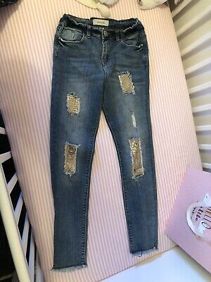 River Island Girls Blue Jeans With Gold Sequins Age 11 Years Christmas