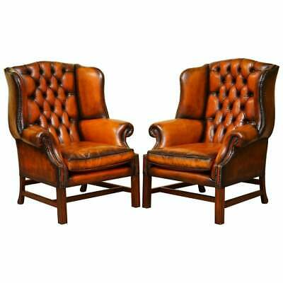 Stunning Pair Of Chesterfield Restored Wingback Armchairs Whisky Brown Leather