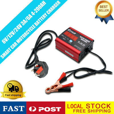 Car Battery Charger Heavy Duty 6V 12V & 24V Trickle / Fast, 200AH Vehicle MASO
