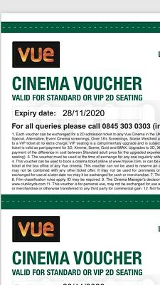 6 X Vue Cinema tickets from Lloyds bank expiry 05/11/2020