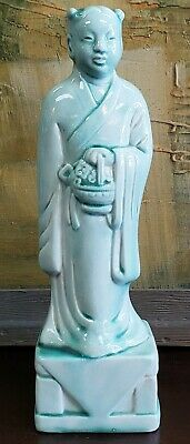 Early 20th Century Chinese Celadon-Glazed Porcelain Court Attendant Figurine